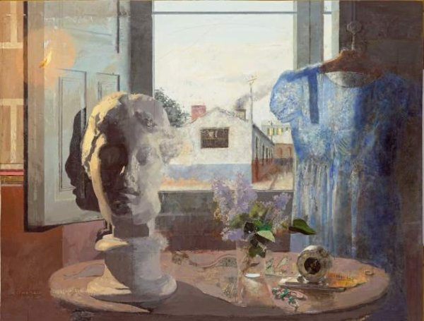 Antonio Lopez Garcia  Cabez griega y vestido azul oil on panel 1958