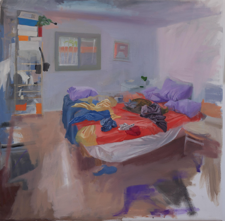 Untidy Bedroom Art: Bedroom Study 3, 2011. Oil On Linen, 70 X 70 Cm